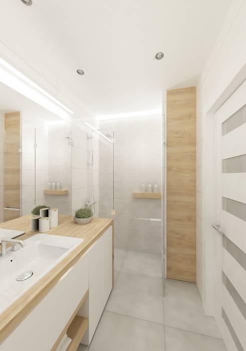 Skandynawskie biele i szarości.: styl , w kategorii Łazienka zaprojektowany przez 4ma projekt,Skandynawski