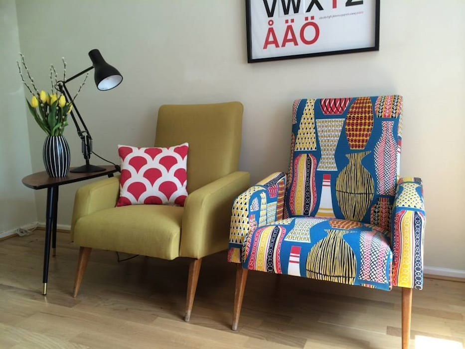 Pair of Mid Century French club chairs reupholstered in mustard wool and Sanderson Hayward fabrics Eclectic Chair Upholstery Living roomSofas & armchairs