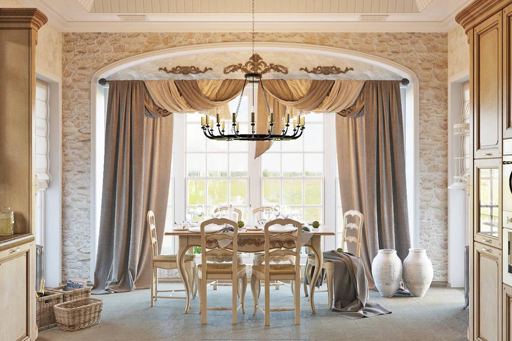 Традиционный интерьер для кухни столовой: Столовые комнаты в . Автор – Студия дизайна Interior Design IDEAS, Колониальный
