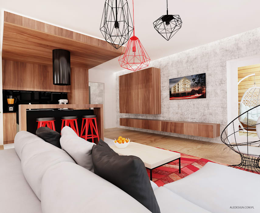 Salon w czerni i czerwieni Nowoczesny salon od Ale design Grzegorz Grzywacz Nowoczesny