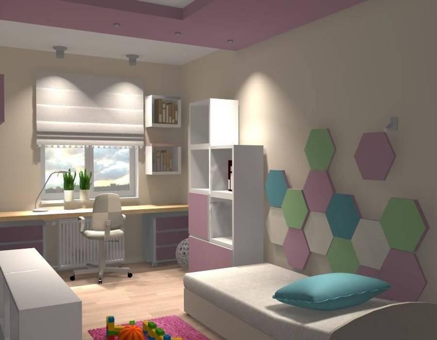 Fluffo HEXA wizualizacja pokoju : styl , w kategorii Pokój dziecięcy zaprojektowany przez FLUFFO fabryka miękkich ścian