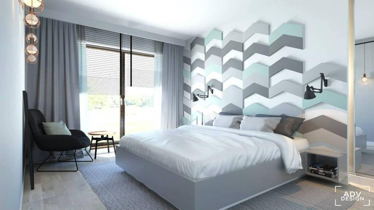 Wizualizacja Fluffo Chevron w projekcie ADV Design. Nowoczesna sypialnia od FLUFFO fabryka miękkich ścian Nowoczesny