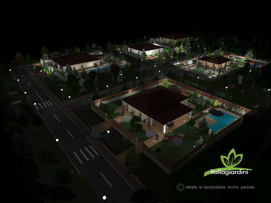 progetto giardini complesso residenziale : Giardino in stile in stile Mediterraneo di italiagiardini