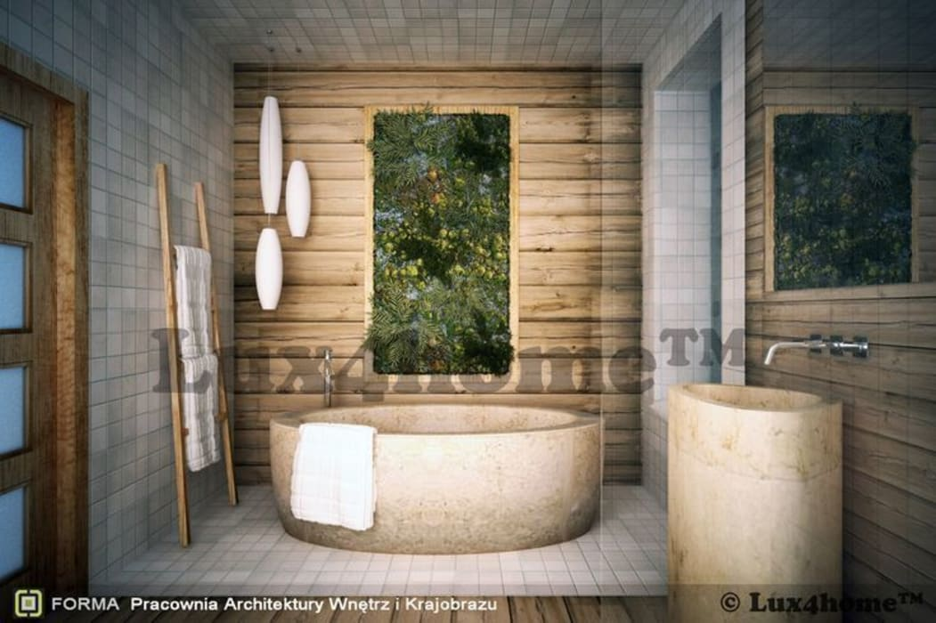 Koncepcja łazienki z wanną z kamienia: styl , w kategorii Łazienka zaprojektowany przez Lux4home™