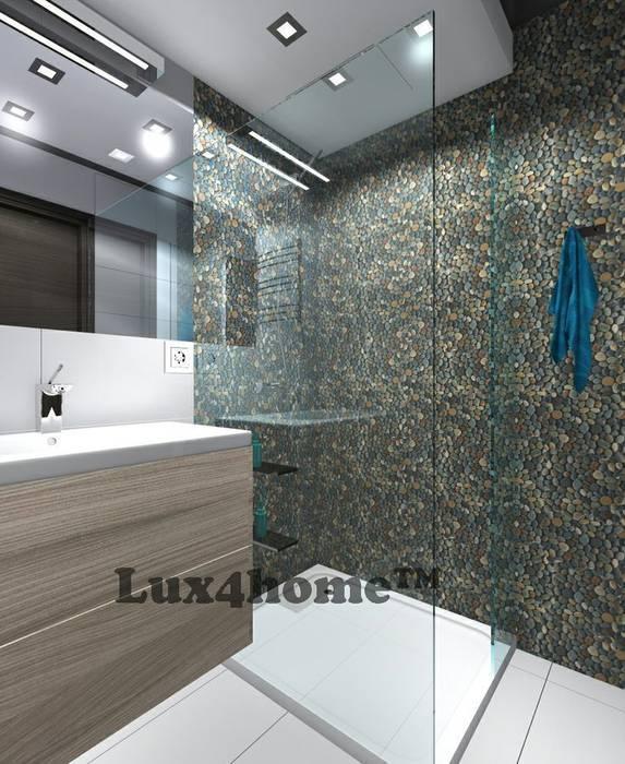 Otoczaki prysznic - ściana pod prysznicem z otoczaków.: styl , w kategorii Łazienka zaprojektowany przez Lux4home™