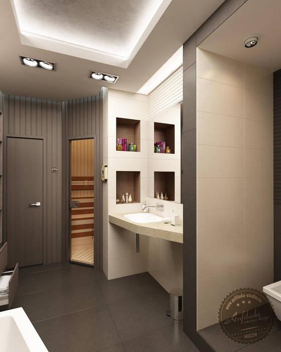 Ванная комната с сауной Ванная комната в стиле минимализм от Anfilada Interior Design Минимализм