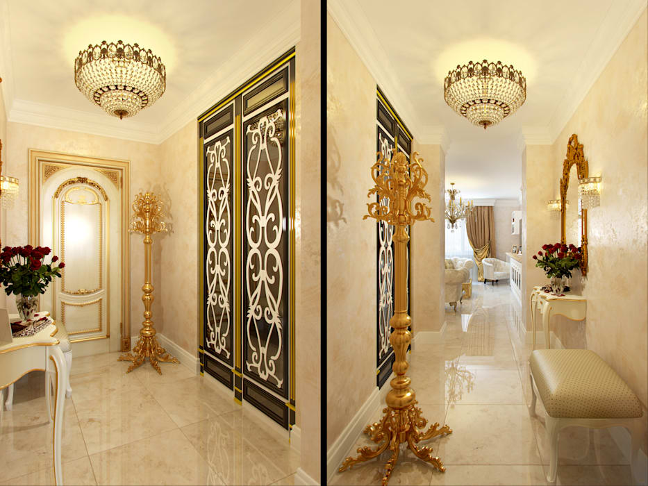 Pasillos, vestíbulos y escaleras clásicas de Студия дизайна интерьера Маши Марченко Clásico