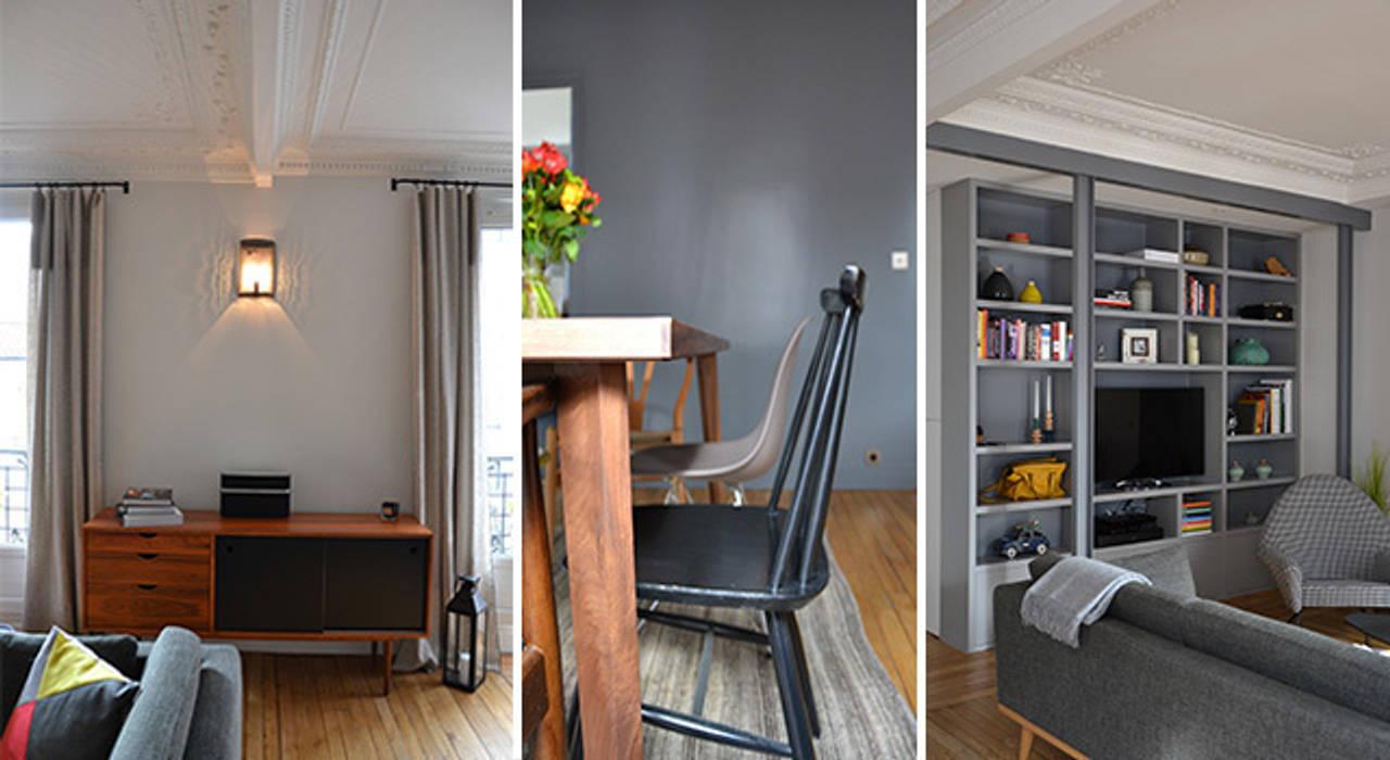 Salon / salle à manger - Appartement Puteaux: Salon de style de style Moderne par A comme Archi