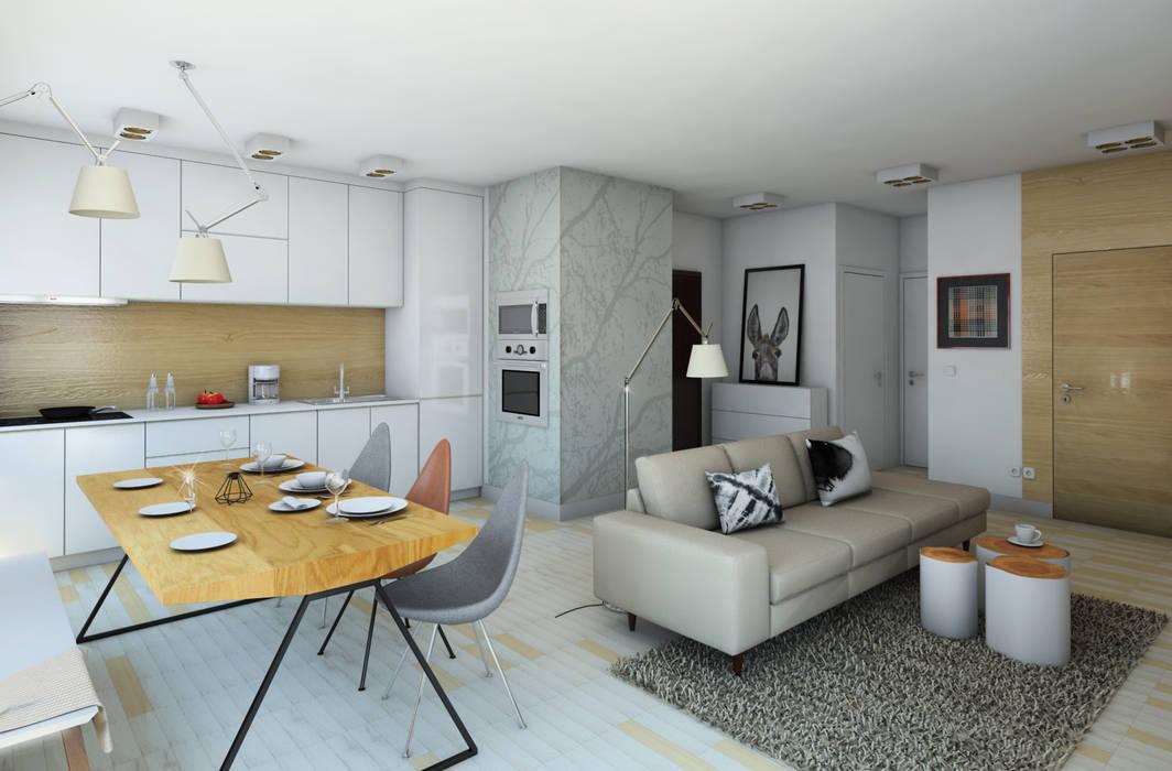 wizualizacja do projektu mieszkania na Woli Pracownia Projektowa Pe2 Skandynawski salon