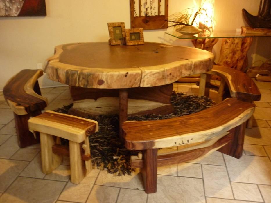 Mesa con bancas comedor de estilo por cenquizqui homify - Bancas para comedor ...