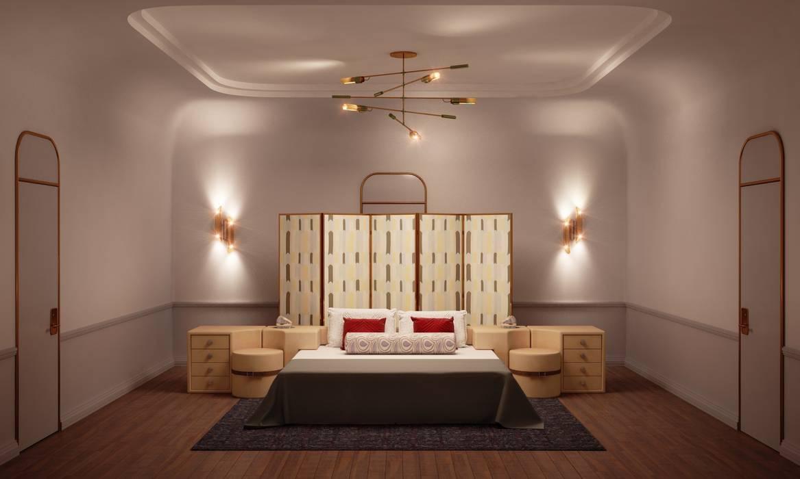 Основная спальня Спальня в эклектичном стиле от Line In Design Эклектичный