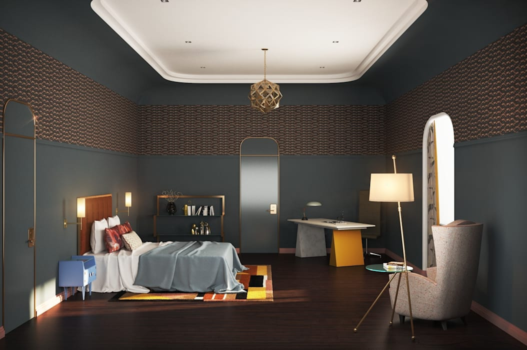 Гостевая спальня Спальня в эклектичном стиле от Line In Design Эклектичный