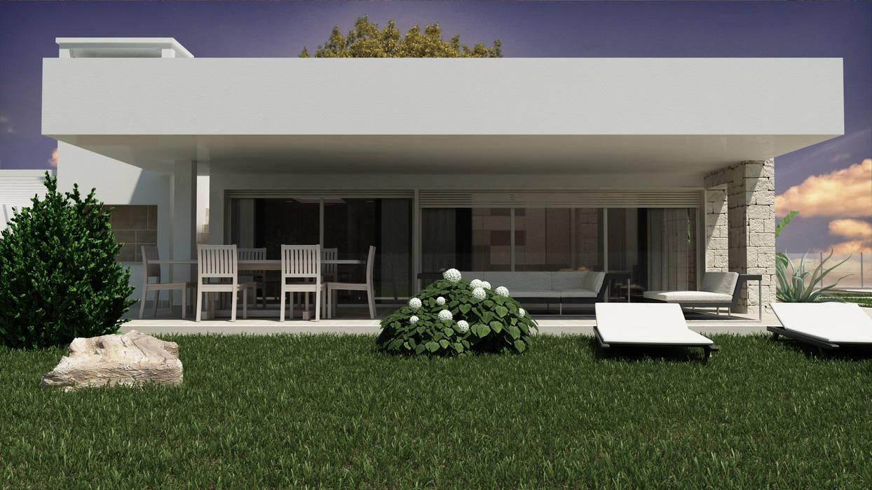 Casa Stile Moderno Esterni : Stone glass house u esterno case in stile in stile moderno di de