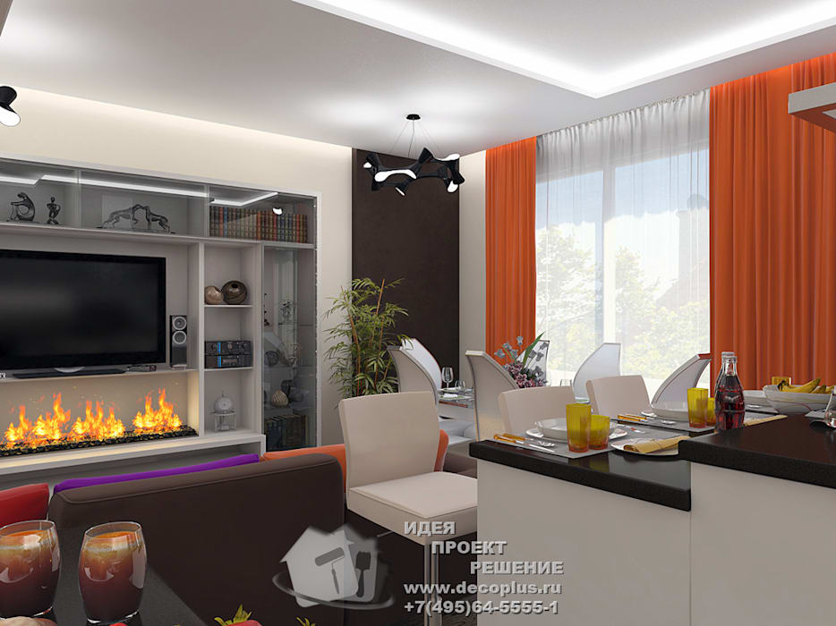 Интерьер гостиной-столовой: Гостиная в . Автор – Бюро домашних интерьеров