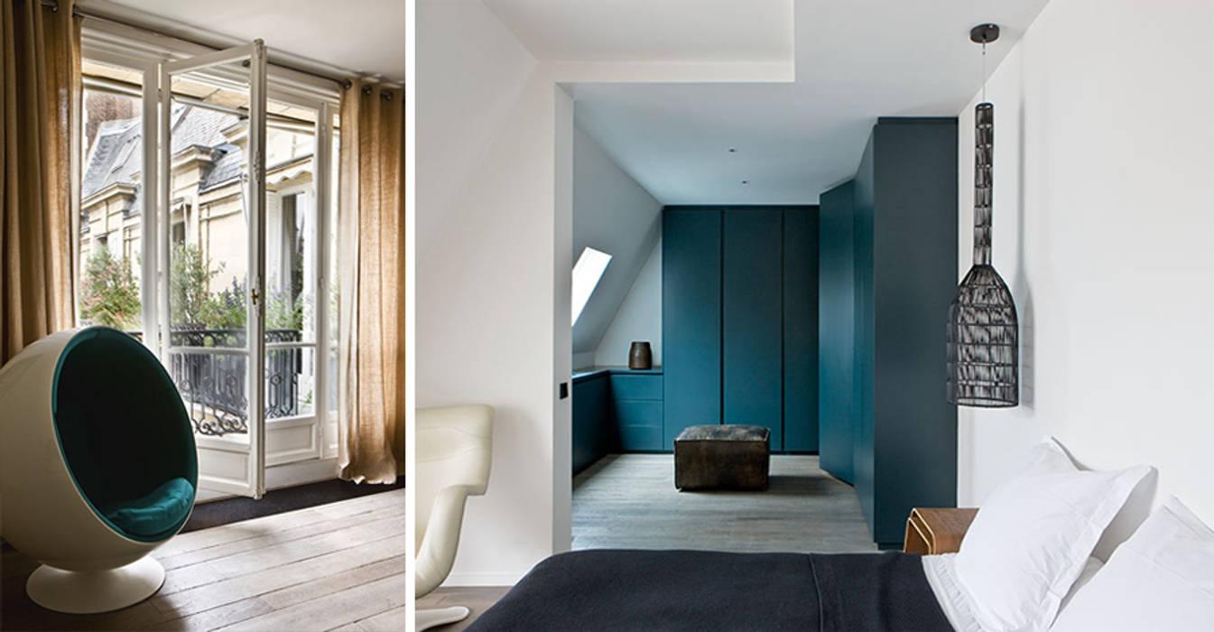 PARIS  GEORGES MANDEL     Crédit photo: Gilles Trillard pour Maison Française (sept. 2014): Chambre de style de style Moderne par KTL Interiors  by Kareen Trager-Lewis