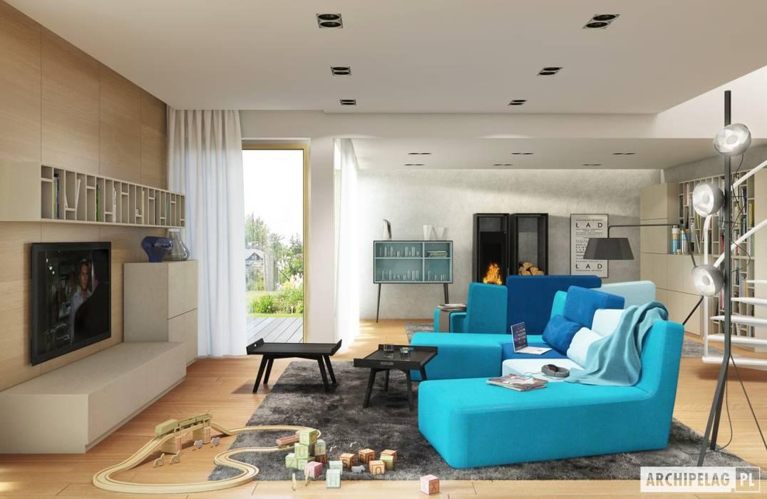 Projekt domu Neo G1 ENERGO Nowoczesny salon od Pracownia Projektowa ARCHIPELAG Nowoczesny