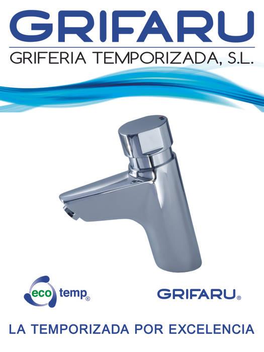 CARTEL FERIA CLIMATIZACIÓN 2015 Centros comerciales de estilo moderno de GRIFARU Grifería Temporizada, S.L. Moderno