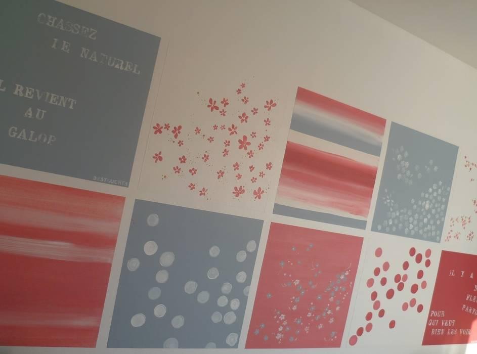 Papier peint unique pour pièce unique: une création imaginée et réalisée par Bleu d'avril: Murs de style  par Bleu d'avril