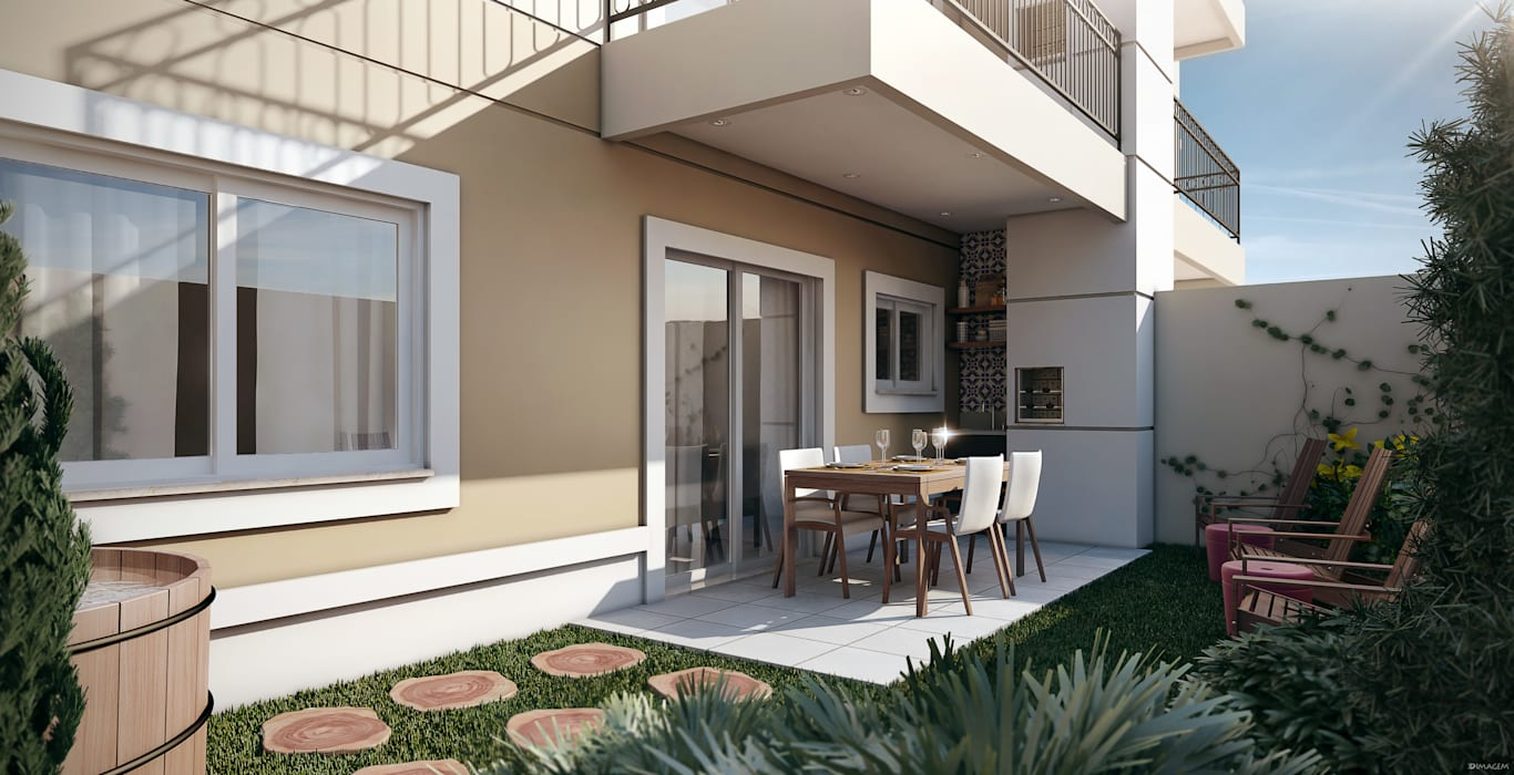 Hiên, sân thượng theo Lodo Barana Arquitetura e Interiores,