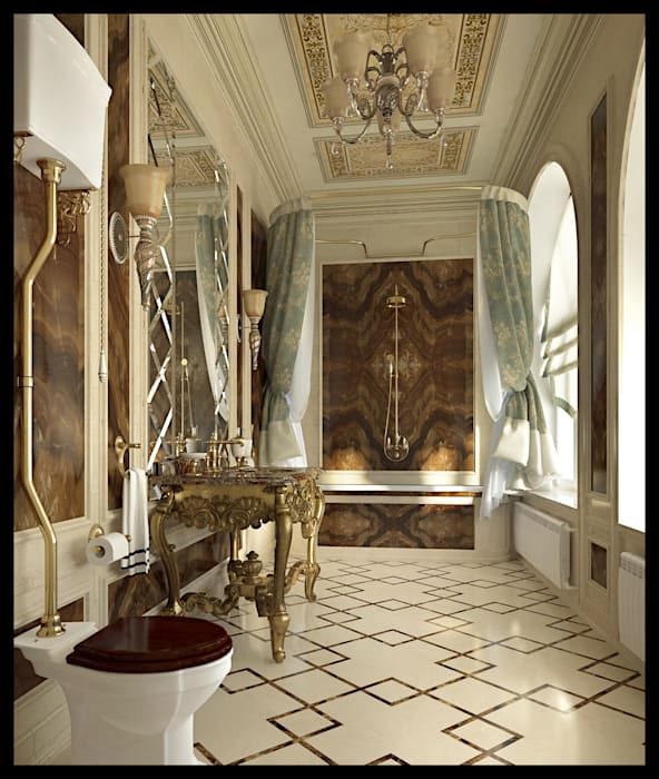 Санузел при мужской спальне: Ванные комнаты в . Автор – Defacto studio