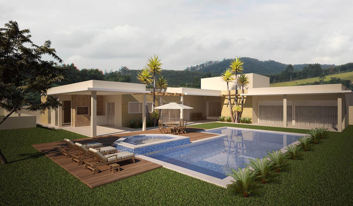 Residência Jardim Passargada: Casas  por Flávia Brandão - arquitetura, interiores e obras