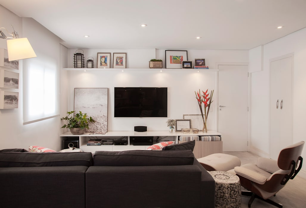 Apartamento Vila Olímpia Salas multimídia modernas por Helô Marques Associados Moderno