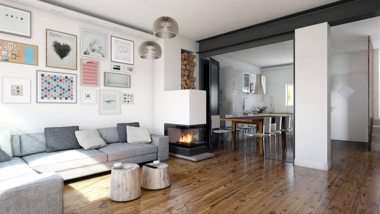 Rendering soggiorno con vetrata aperta in stile di a studio