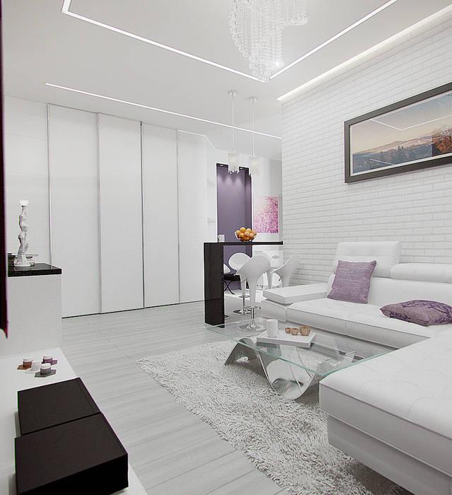 Scandinavian style living room by Rustem Urazmetov Scandinavian
