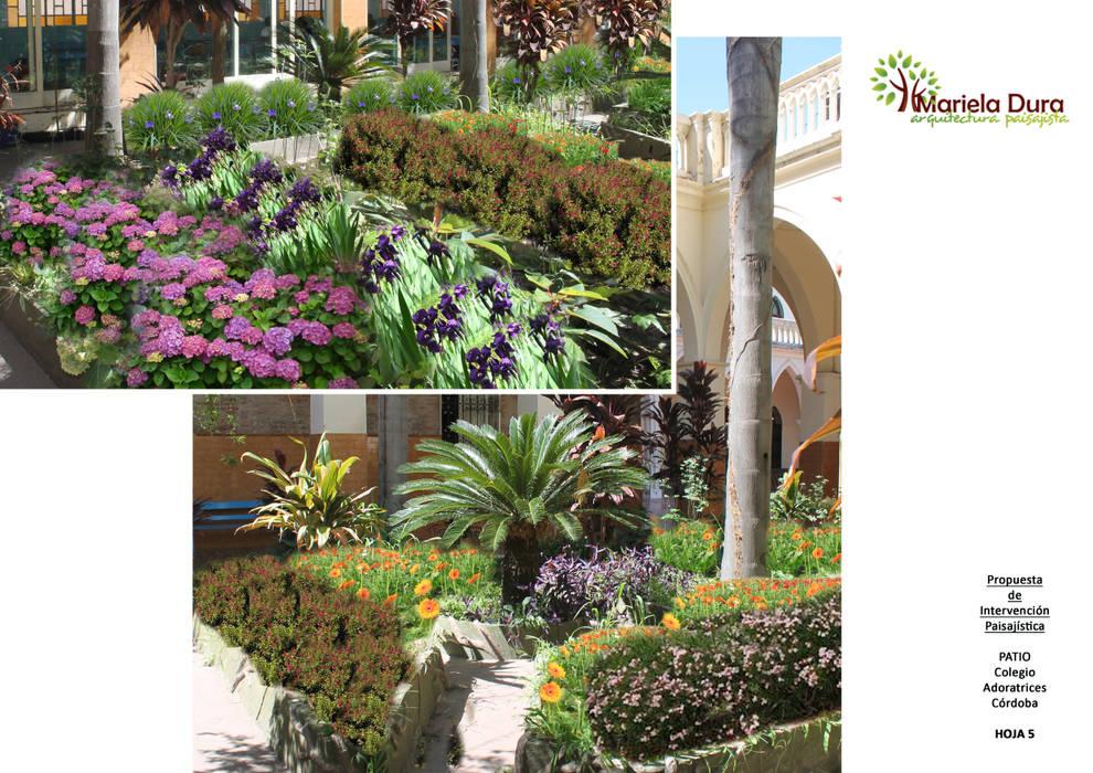 HOJA 4 y 5: PATIO IIIB – CANTERO CENTRAL CICA: Jardines de estilo  por MARIELA DURA ARQUITECTURA PAISAJISTA