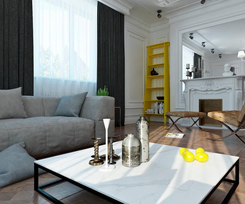Yellow accents Гостиные в эклектичном стиле от Студия Антона Сухарева 'SUKHAREVDESIGN' Эклектичный