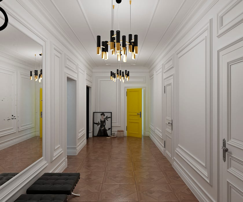 Yellow accents Коридор, прихожая и лестница в эклектичном стиле от Студия Антона Сухарева 'SUKHAREVDESIGN' Эклектичный