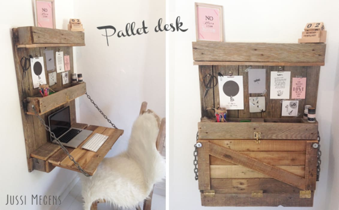 Bureau / desk van pallets:  Kantoren & winkels door Jussi Megens (Online) Media