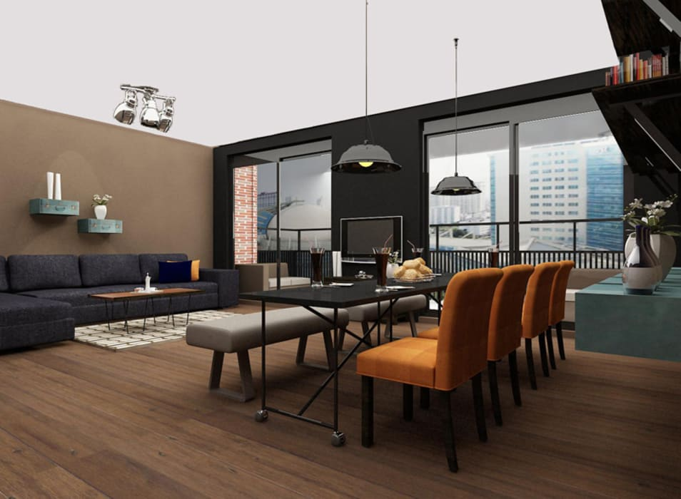 Cozy bachelor loft:  Woonkamer door Levenssfeer, Modern Hout Hout