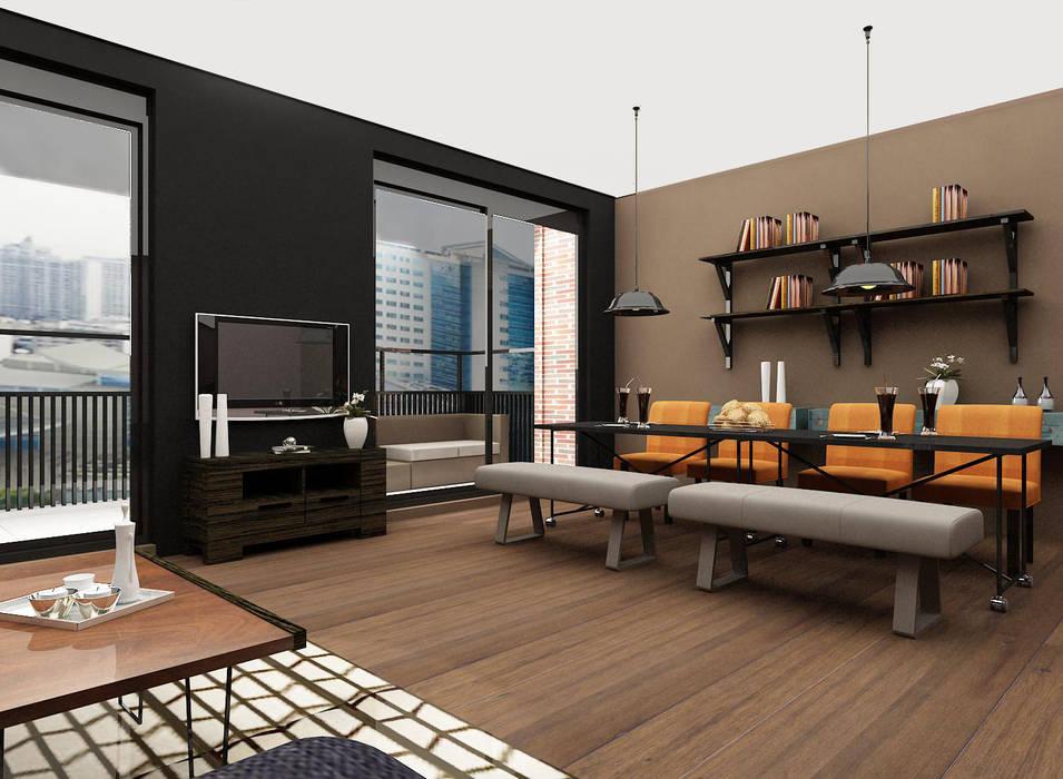 Cozy bachelor loft:  Eetkamer door Levenssfeer