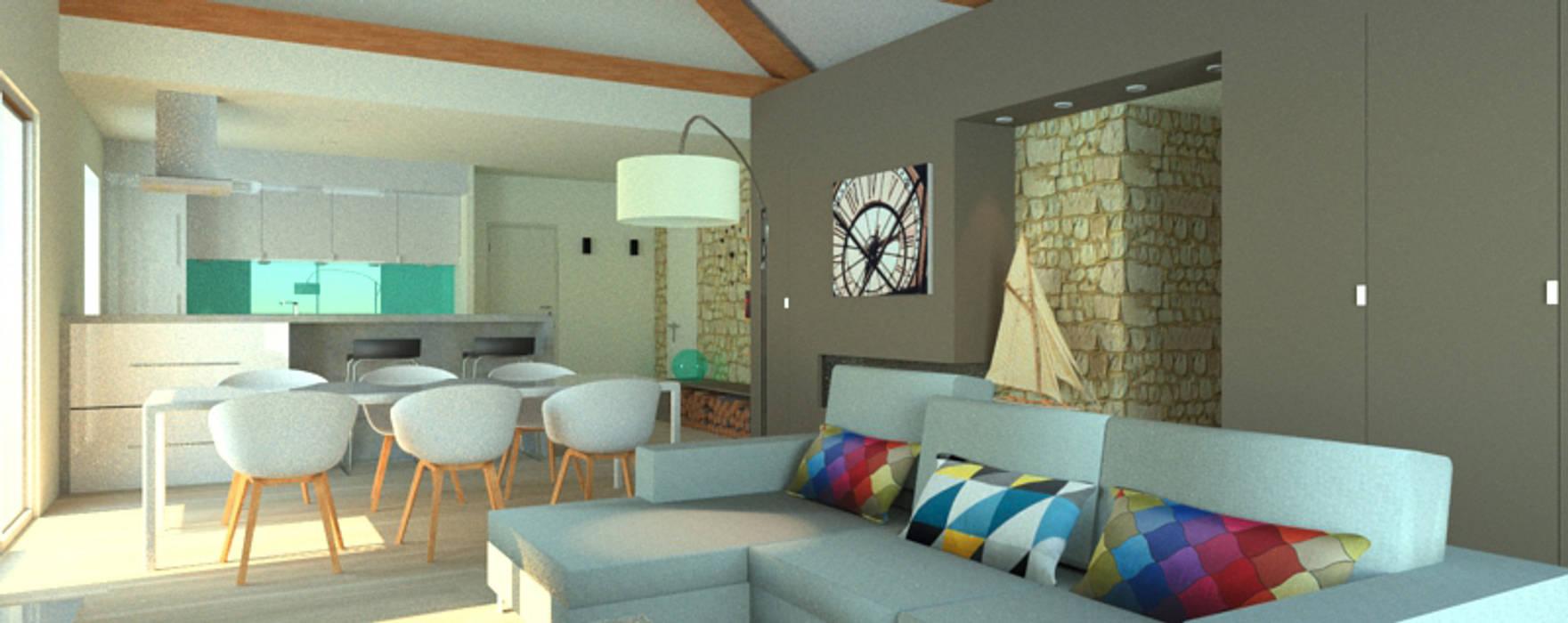 L'espace familiale: Salon de style de style Moderne par APMS architectes