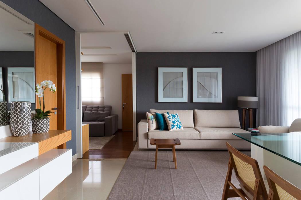 Sala de Estar integrada com sala de TV: Salas de estar  por Haruf Arquitetura + Design