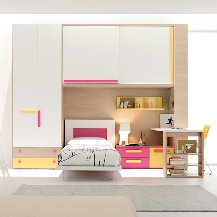 Fine Yellow Pink Girls Bedroom Furniture Set By Clever Modern Download Free Architecture Designs Scobabritishbridgeorg