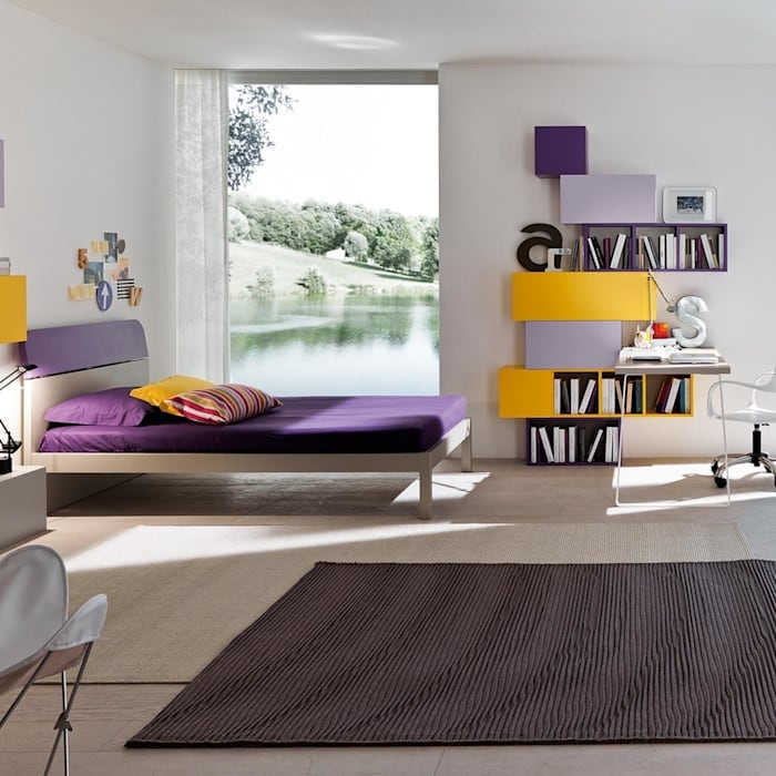 'Purple' Girl's study/bedroom furniture set by Siluetto homify Nursery/kid's roomBeds & cribs