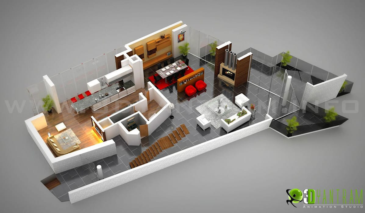 ​3D Residential Ground Floor Plan by Yantram Architectural Design Studio