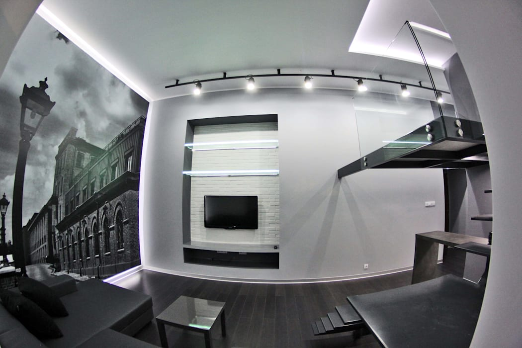 Single loft -- Lofty u Scheiblera, Łódź -- weloftdesign.com WE LOFT DESIGN Nowoczesny salon
