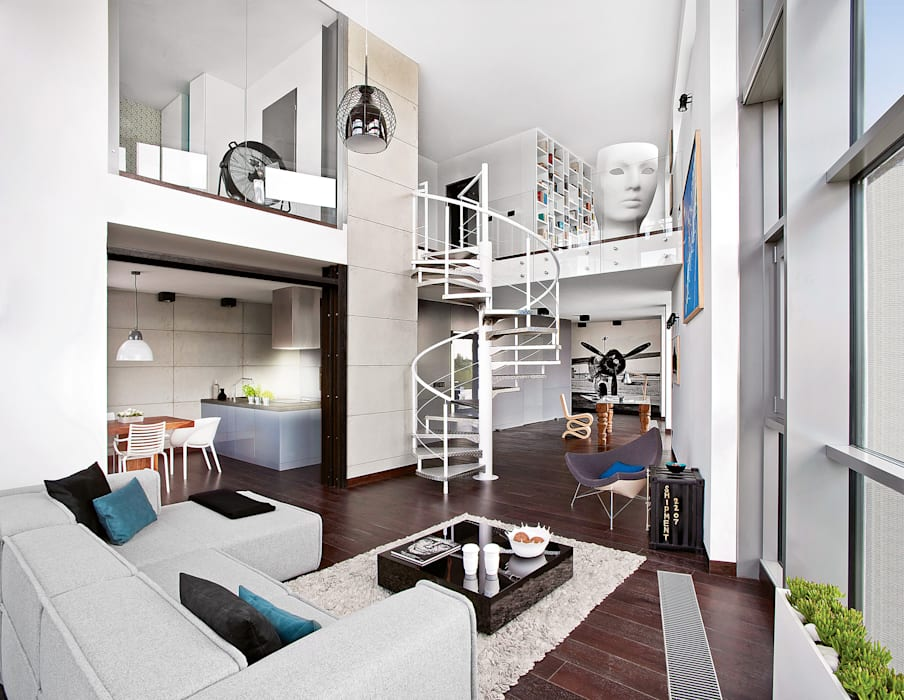 industrial style corridor, hallway & stairs by justyna smolec architektura & design Industrial
