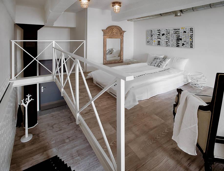 Biały Loft Styl W Kategorii Sypialnia Zaprojektowany