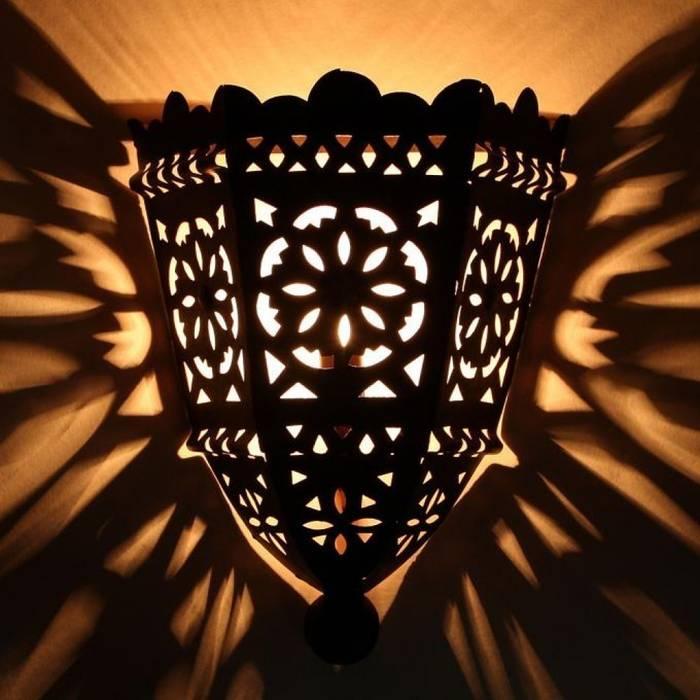 Orientalna lampa ścienna, żelazna EWL10 od DomRustykalny.pl Rustykalny