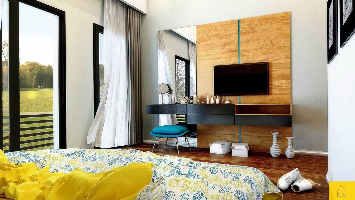 Penintdesign İç Mimarlık  – Erbek Nif 3+1 Villa için Tasarımlar - Üst Kat:  tarz Yatak Odası, Modern