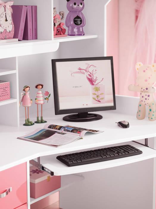 Detailfoto van het bureau bij het kasteelbed Chica JeEigenKamer.nl KinderkamerBedden en wiegen