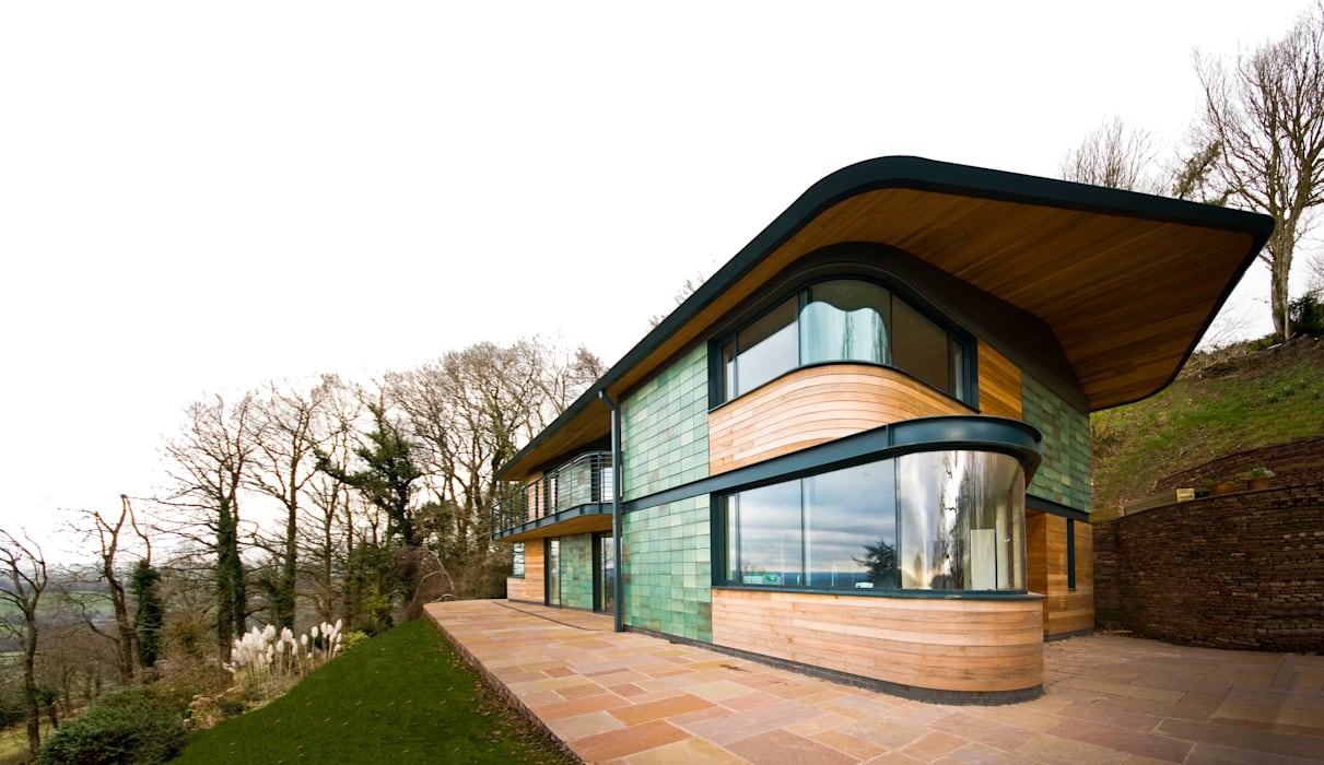 Blue Door, Monmouthshire Modern balcony, veranda & terrace by Hall + Bednarczyk Architects Modern