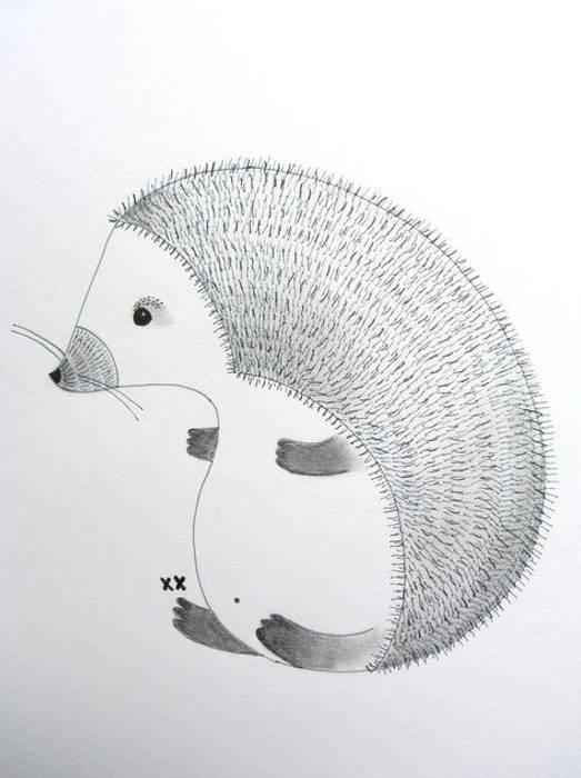 handmade egel illustratie van Kinderkamervintage Scandinavisch
