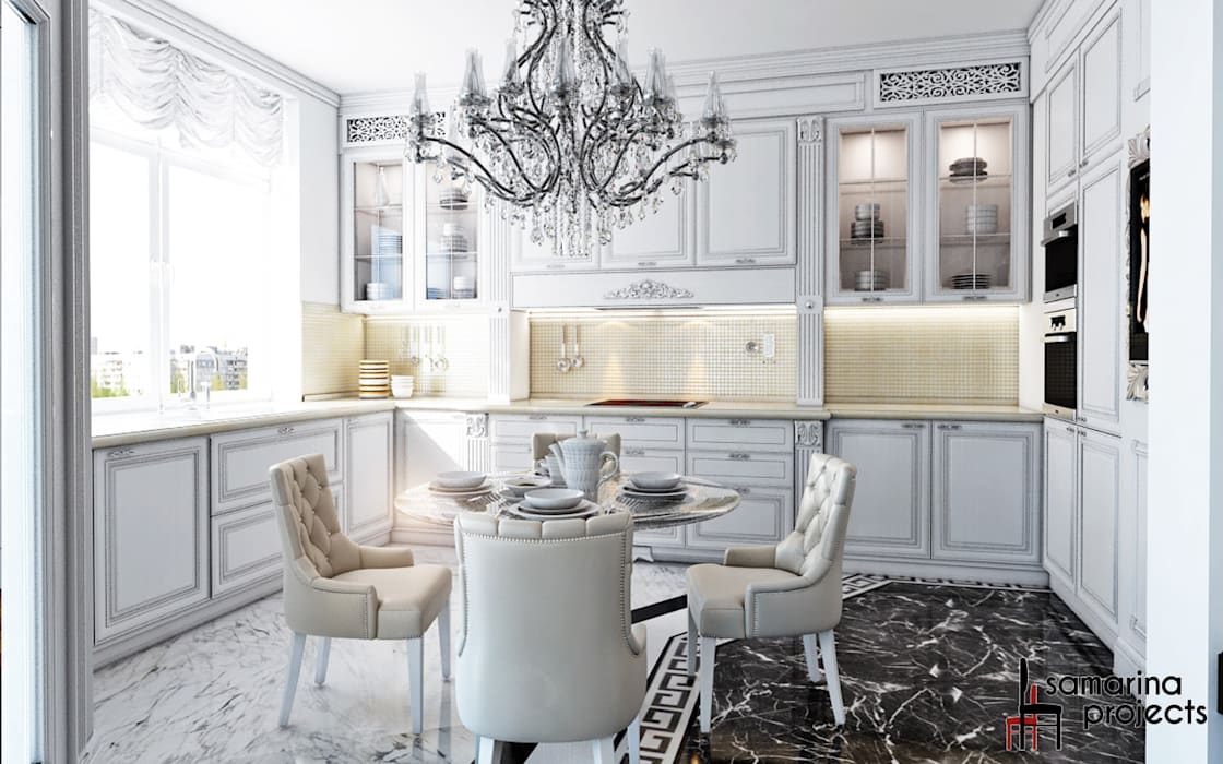 "Дизайн квартиры ""Невесомая красота"" : Кухни в . Автор – Samarina projects"