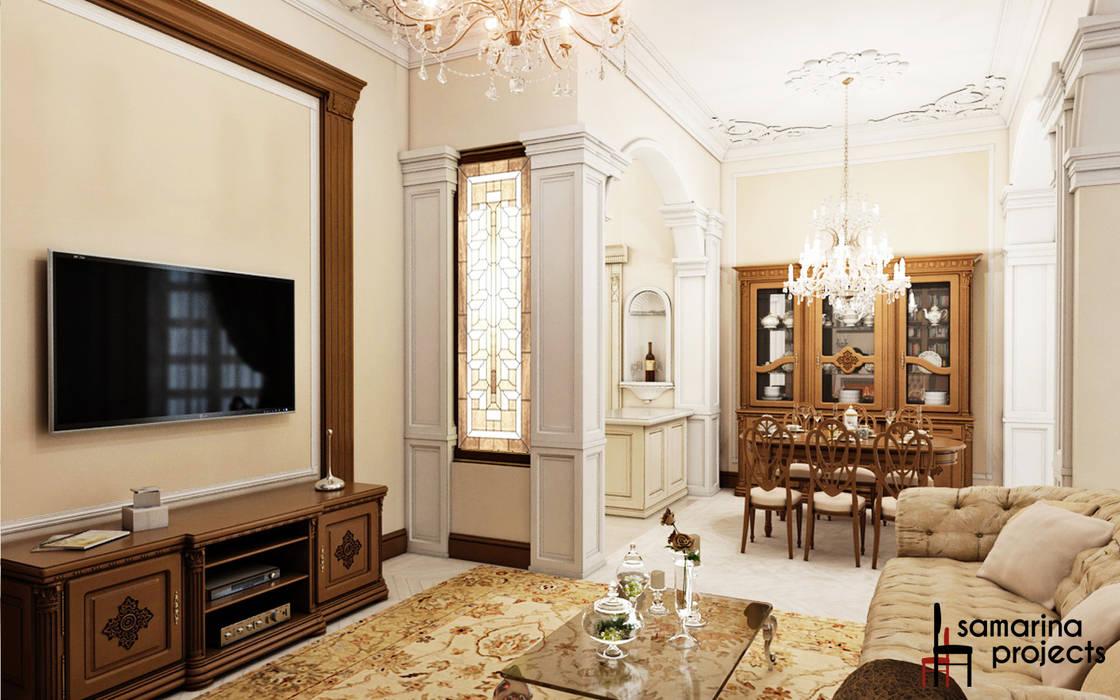 """Дизайн квартиры """"Легкая классика"""": Гостиная в . Автор – Samarina projects"""