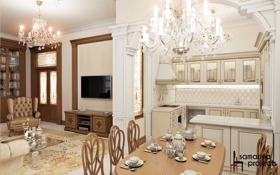 "Дизайн квартиры ""Легкая классика"": Кухни в . Автор – Samarina projects"